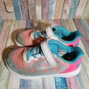 Nike free run kids 12c bright colored shoes EUC